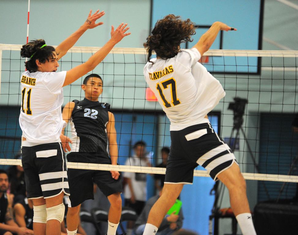 . CARSON - 04/09/2013  (Photo: Scott Varley, Los Angeles Newspaper Group)  San Pedro vs Carson boys volleyball. Carson won 3-0.