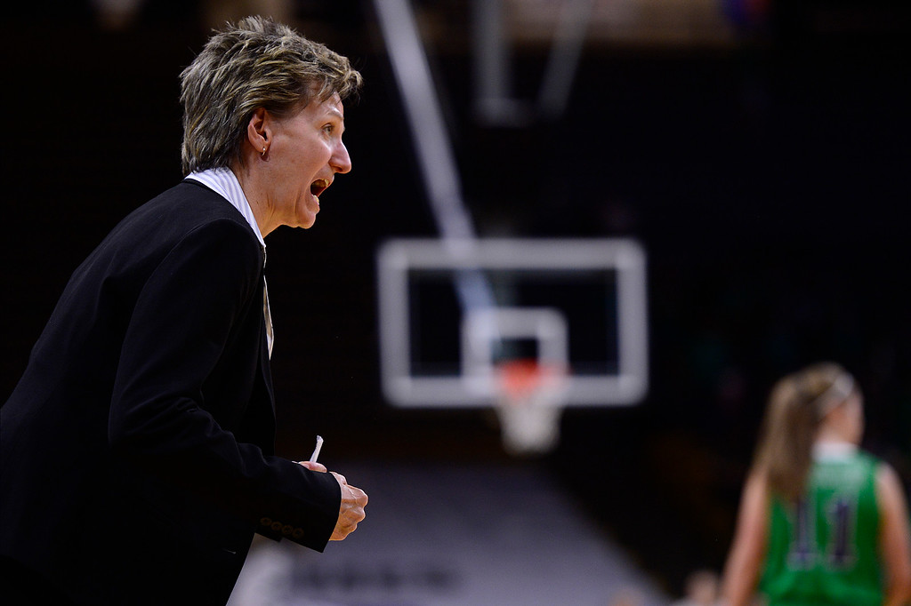 . Head coach Caryn Jarocki of Highlands Ranch yells at the referees during the second quarter at the Coors Events Center on March 12, 2016 in Boulder, Colorado. (Photo by Brent Lewis/The Denver Post)