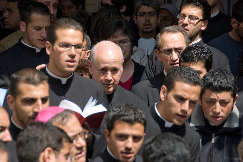 Priests during Good Friday celebration in Jerusalem