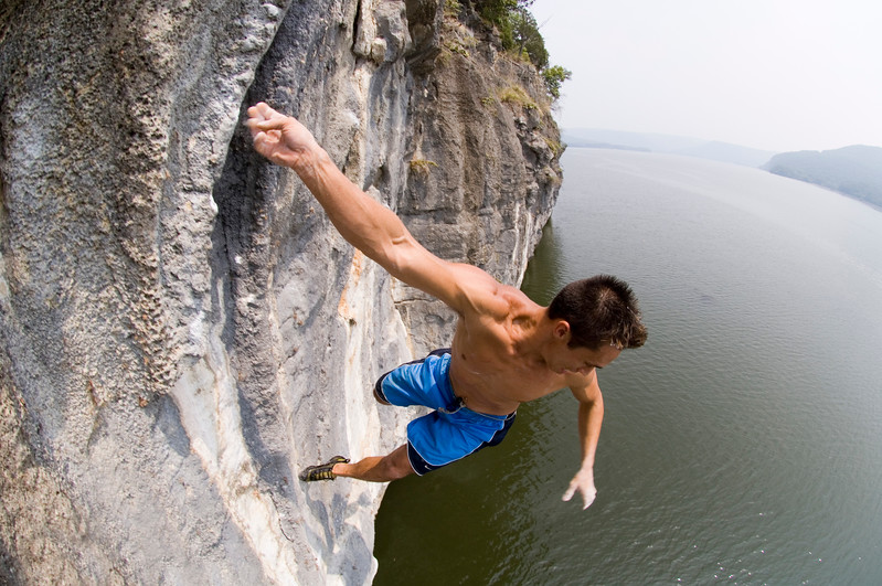 Anthony Meeks spots his landing from 30 feet up over Nickajack Lake, Tennessee