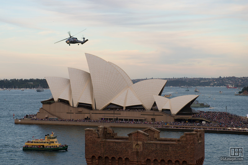 Helicopter over the Sydney Opera House
