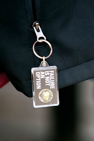 """Keychain on Craig's Smithsonian jacket, purchased at the National Air and Space Museum, with the adopted motto of the quest.  """"Failure is not an option"""" was attributed to NASA flight director Gene Kranz in the movie Apollo 13. Photo by Alex Perry. (4/23/11)"""