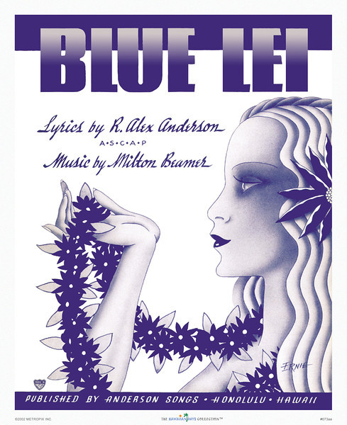 073: Nostalgic Hawaii print, titled, 'Blue Lei.' Vintage Hawaiian Music Cover, ca 1936.