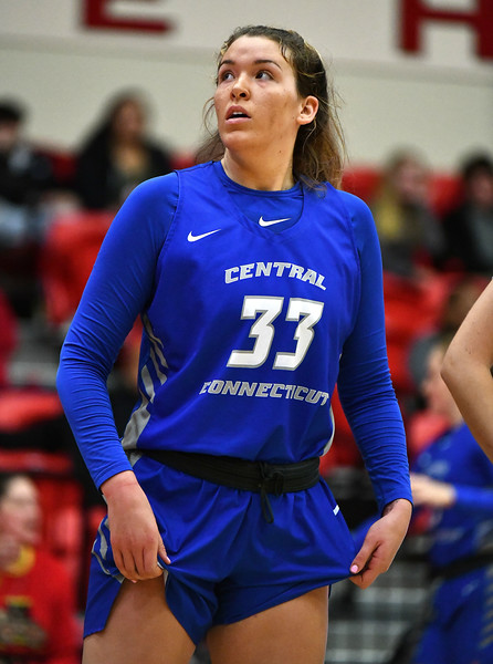 12/21/2019 Mike Orazzi   Staff CCSU's Ashley Berube (33) during Saturday's women's basketball game with The University of Hartford in West Hartford.