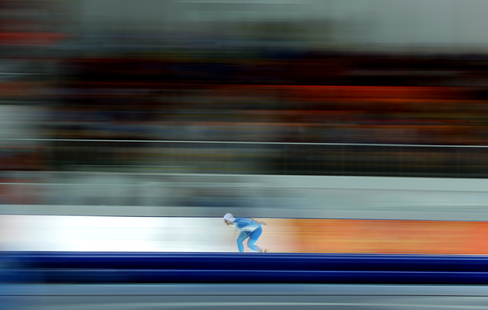 . Tommi Pulli of Finland competes competes in the Speed Skating Men\'s 1000m during day five of the Sochi 2014 Winter Olympics at Adler Arena Skating Center on February 12, 2014 in Sochi, Russia.  (Photo by Robert Cianflone/Getty Images)