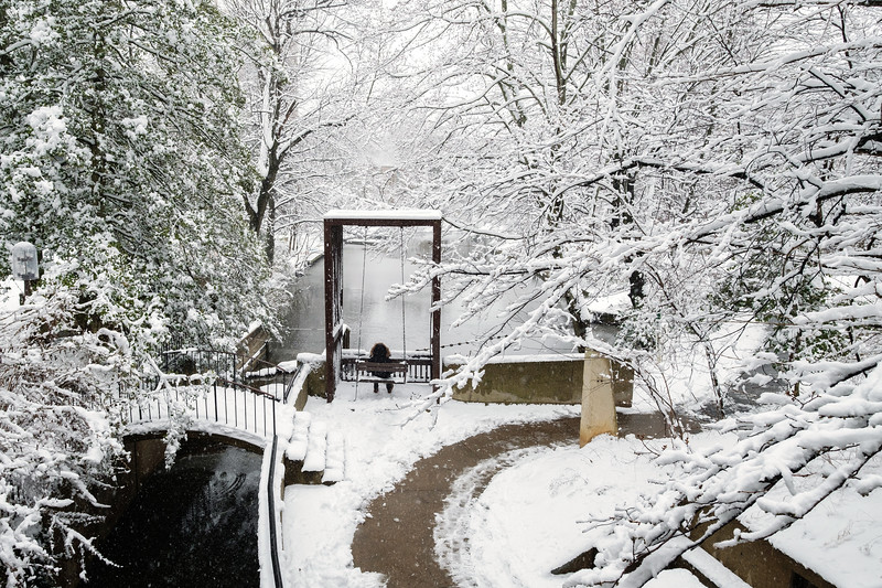 Snow at the Lake Anne canal swing