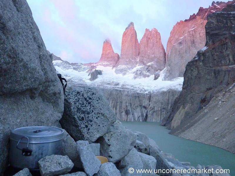 Cooking Tea at Sunrise - Torres del Paine National Park, Chile