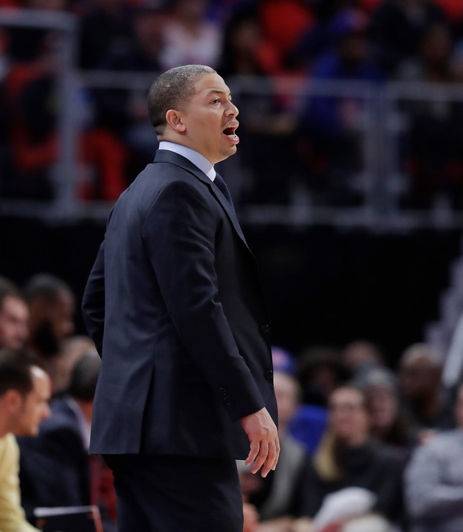 . Cleveland Cavaliers head coach Tyronn Lue yells from the sidelines during the second half of an NBA basketball game against the Detroit Pistons, Monday, Nov. 20, 2017, in Detroit. (AP Photo/Carlos Osorio)