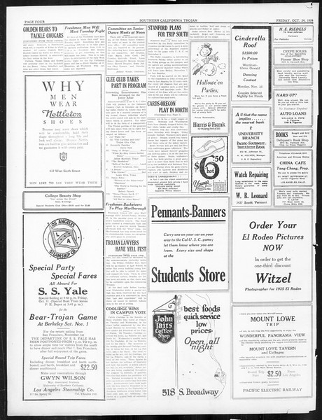 The Southern California Trojan, Vol. 16, No. 16, October 24, 1924