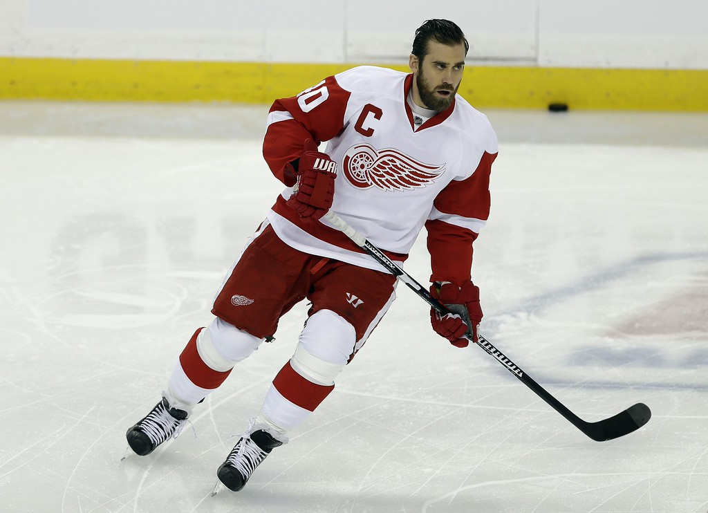 . Detroit Red Wings left wing Henrik Zetterberg (40), of Sweden, before Game 7 of a first-round NHL Stanley Cup hockey playoff series Wednesday, April 29, 2015, in Tampa, Fla. (AP Photo/Chris O\'Meara)