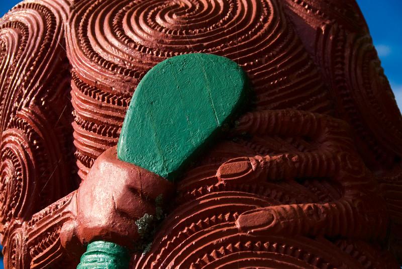 Close up of moari carving in Rotorua