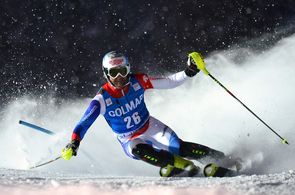 . Markus Vogel of Switzerland clears a gate in his second run in the FIS Alpine World Cup Men\'s Slalom on December 8, 2012 in Val d\'Isere, French Alps. Alexis Pinturault of France won the race ahead Felix Neureuther of Germany and Marcel Hirscher of Austria. AFP PHOTO / FRANCK  FIFE/AFP/Getty Images