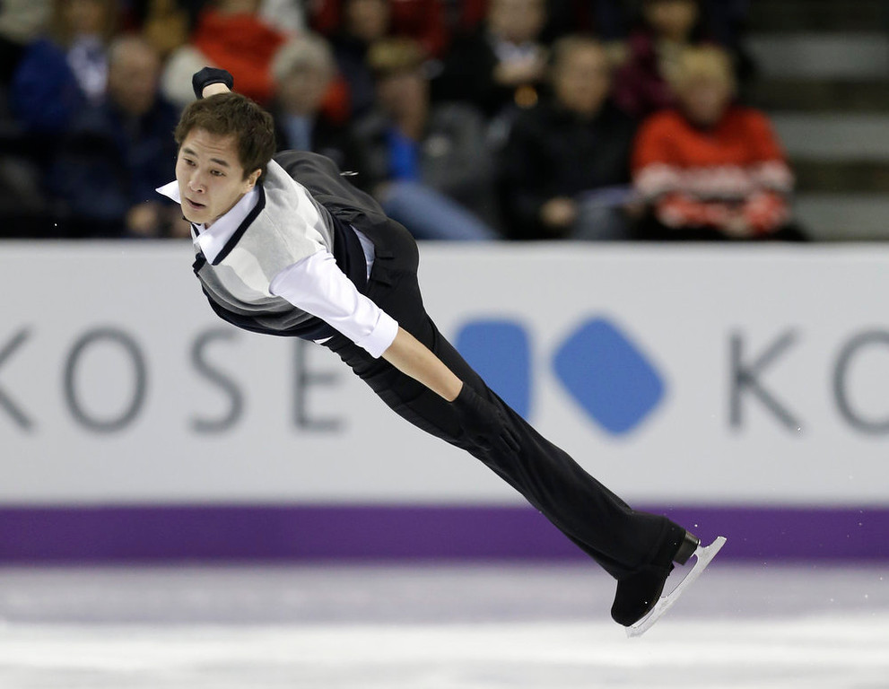 . Abzal Rakimgaliev of Kazakhstan performs during the men\'s short program at the World Figure Skating Championships Wednesday, March 13, 2013, in London, Ontario. (AP Photo/Darron Cummings)