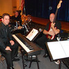"""The pit band for the show:  """"Once On This Island""""  Kirk at the keyboard, Adam Snyder on drums, John Hahn on bass.  Peekskill -  April,  2013"""