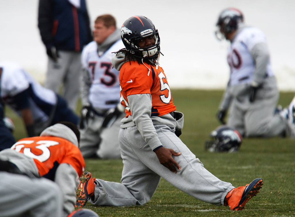 . CENTENNIAL, CO. NOVEMBER 22 : Nate Irving of Denver Broncos (56) is warming up for the team practice at the field in Denver Broncos Headquarters at Dove Valley. Centennial, Colorado. November 22, 2013. (Photo by Hyoung Chang/The Denver Post)