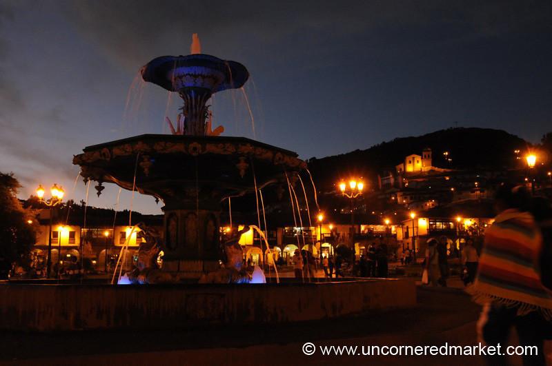 Cusco Fountain at Night - Peru