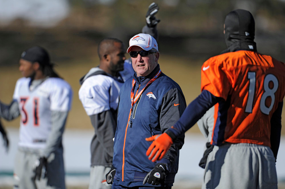. Denver Broncos head coach John Fox looks on during practice Wednesday, January 2, 2013 at Dove Valley.  John Leyba, The Denver Post