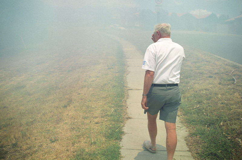 Colin Holmes, Crisp Circuit, Bruce, during grass fires late 2001.