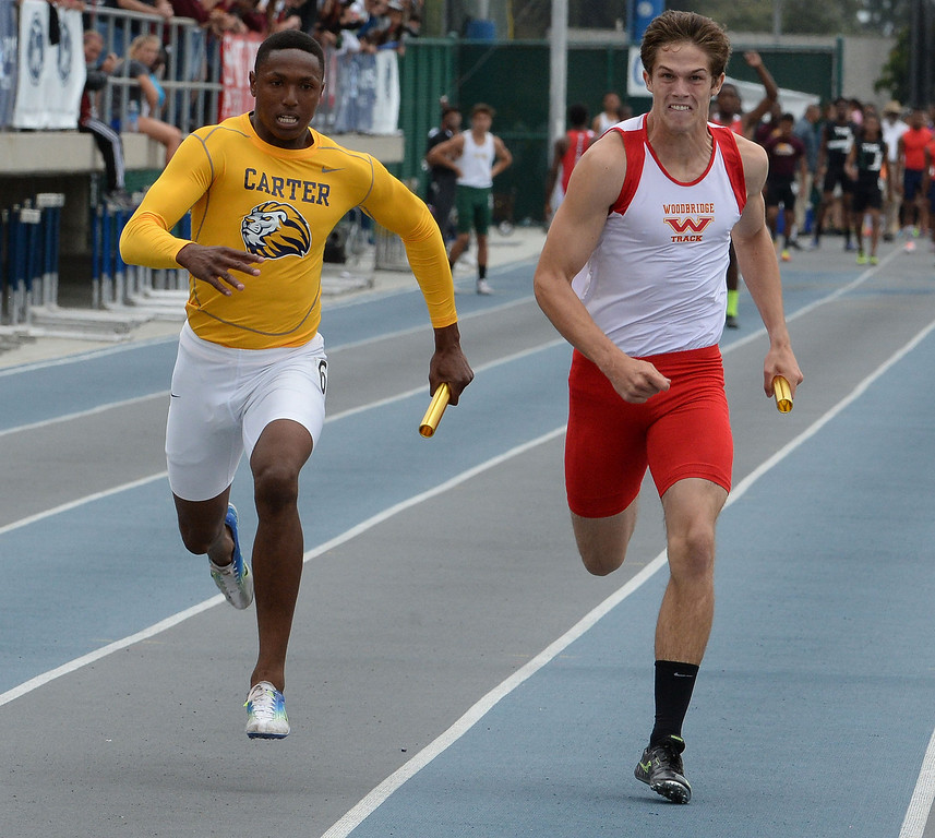 . Carter wins the division 2 4x100 meter race as Paraclete won the race during the CIF Southern Section track and final Championships at Cerritos College in Norwalk, Calif., Saturday, May 24, 2014.   (Keith Birmingham/Pasadena Star-News)