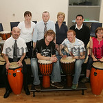 Teachers from Rathore School are pictured with Principal Raymond Cassidy along with Joe Ballance and Seamus Rafferty from Afro-beats. 07W21N21