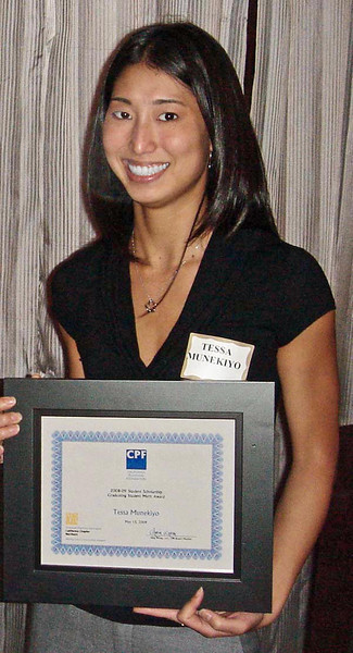 Tessa Munekiyo received a Graduating Student Merit Award from the California Planning Foundation