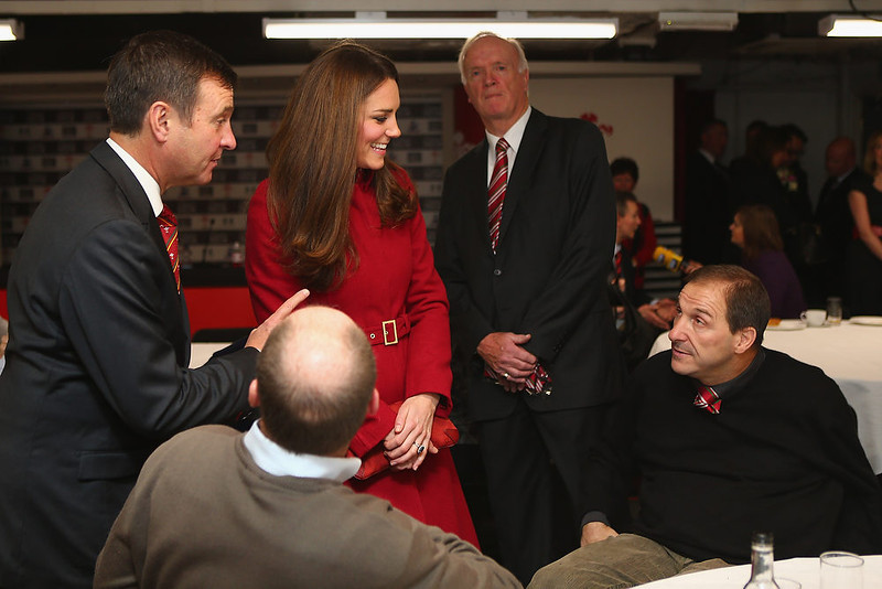. Catherine, Duchess of Cambridge talks to Paul Davies (R), a former player and beneficiary of the Charitable Trust which supports injured players in Wales, ahead of the Autumn International rugby match between Wales and New Zealand at the Millennium Stadium, Cardiff on November 24, 2012 in Cardiff, Wales.  (Photo by Michael Steele - Getty Images)