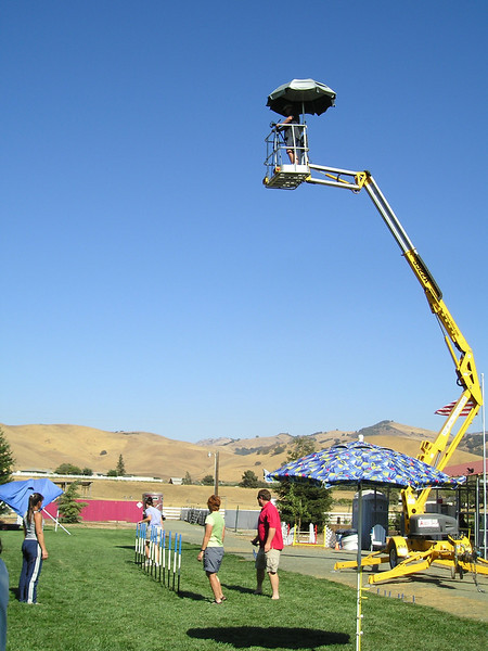 """Hollister: The contraption for videotaping weave poles from above. We tried 20"""" spacing and 24"""" spacing. Both of my dogs were extremely obviously faster and smoother with the 24"""" spacing."""