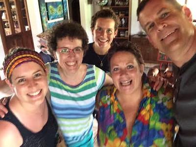 Cousin Dana Saal, Rich & Erin & Julie visiting me in La Guacimo, Costa Rica