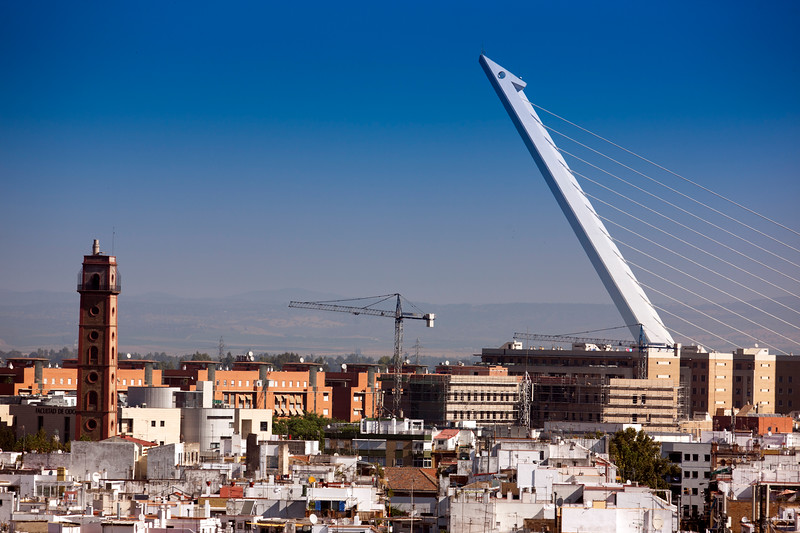 Perdigones tower (left) and Alamillo bridge (right) as seen from the top of Metropol Parasol, Seville, Spain