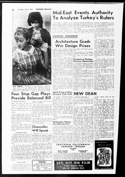 Summer Trojan, Vol. 11, No. 5, July 06, 1961