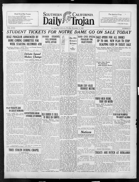 Daily Trojan, Vol. 18, No. 43, November 15, 1926