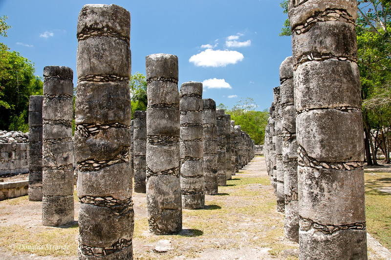 Ruins at Chichen Itza, columns supported a wood structure, long lost.