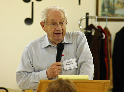 Linfred Schuttler.  Linfred has given many programs over the years.   We particularly enjoyed his Ghosts of Rose Hill Cemetery, which was presented last November.