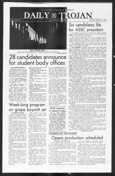 Daily Trojan, Vol. 61, No. 96, March 31, 1970
