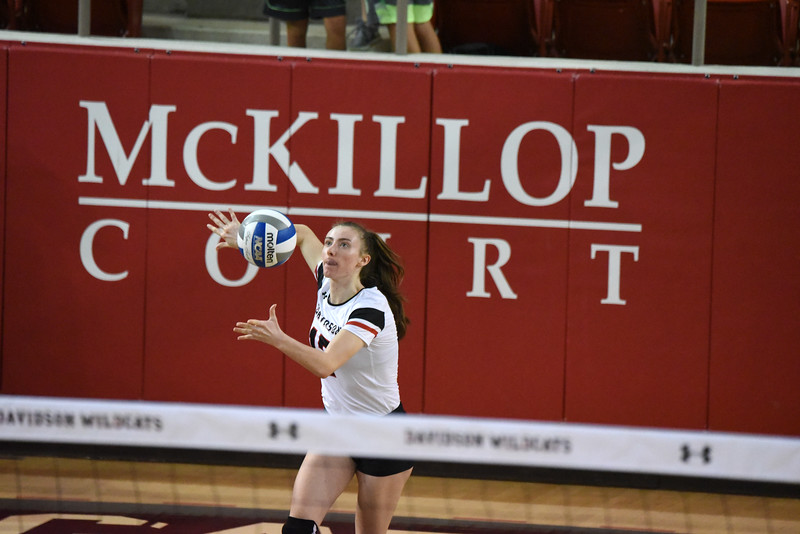 Davidson freshman Malia Kay serves against the VCU Rams. VCU defeated the 'Cats in the Saturday evening matchup.