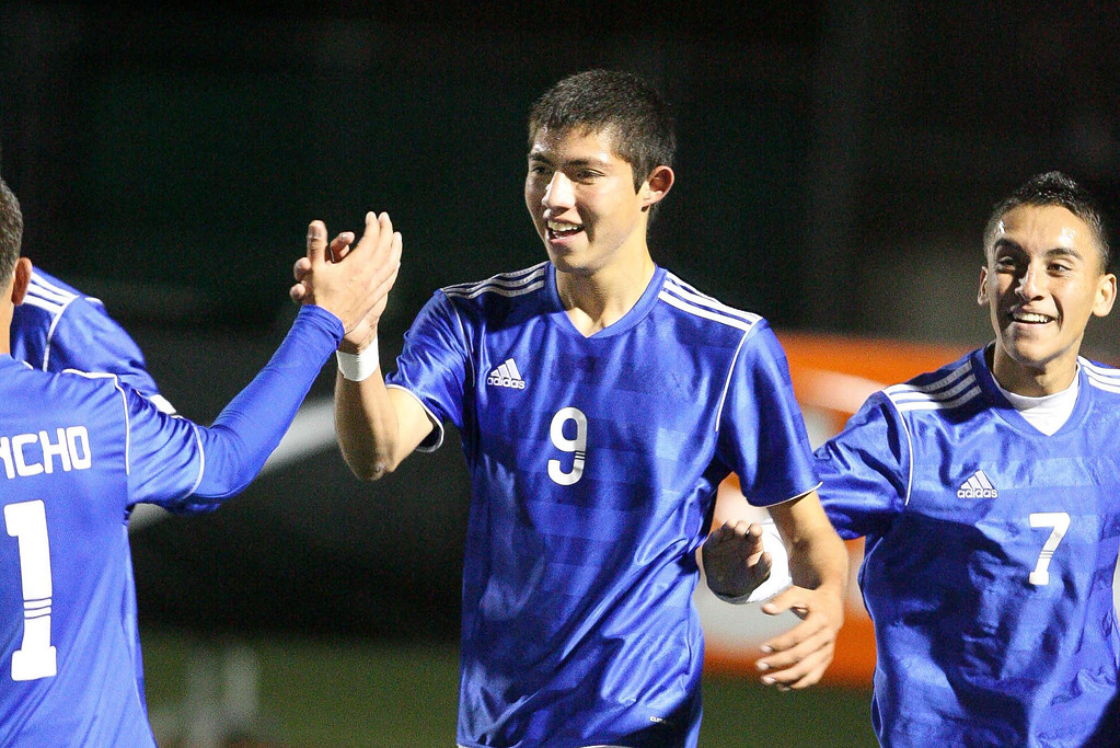 . El Rancho\'s Jaime Moreno celebrates with his team mates after scoring the second in route to a 3-0 victory over San Clelmente in the CIF Division 1 Championship game at Warren High School in Downey. (Correspondent photo by Chris Burt/Sports)