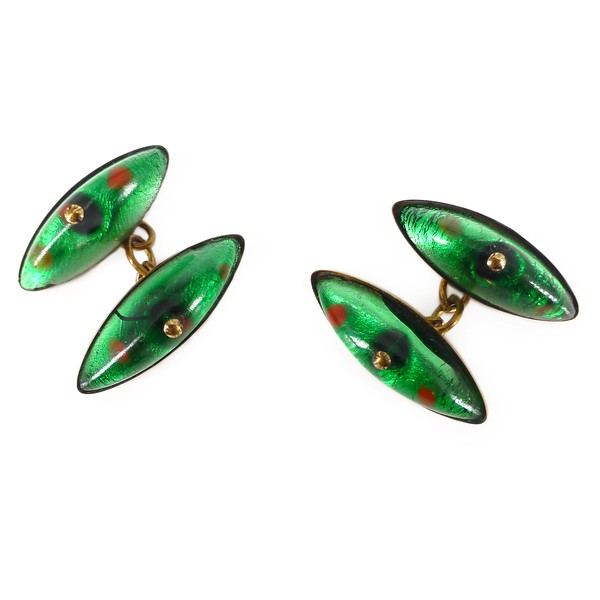 Antique Art Deco Rolled Gold Green Foil Glass Cabochon Cufflinks