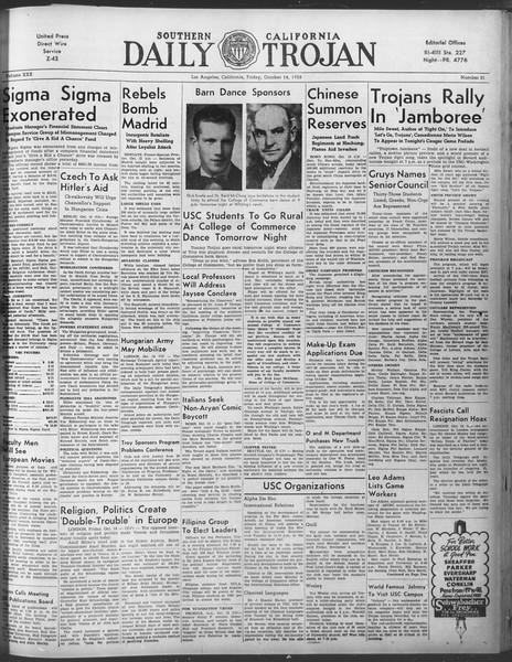 Daily Trojan, Vol. 30, No. 21, October 14, 1938
