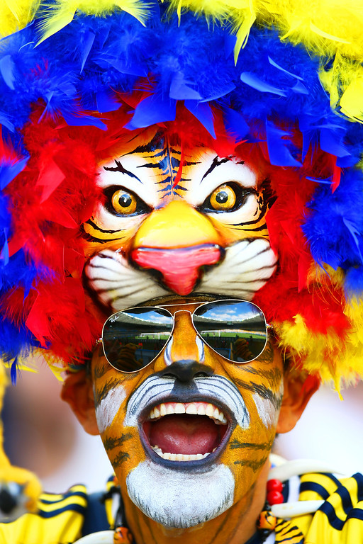 . A Colombia fan shows support prior to the 2014 FIFA World Cup Brazil Group C match between Colombia and Greece at Estadio Mineirao on June 14, 2014 in Belo Horizonte, Brazil.  (Photo by Paul Gilham/Getty Images)