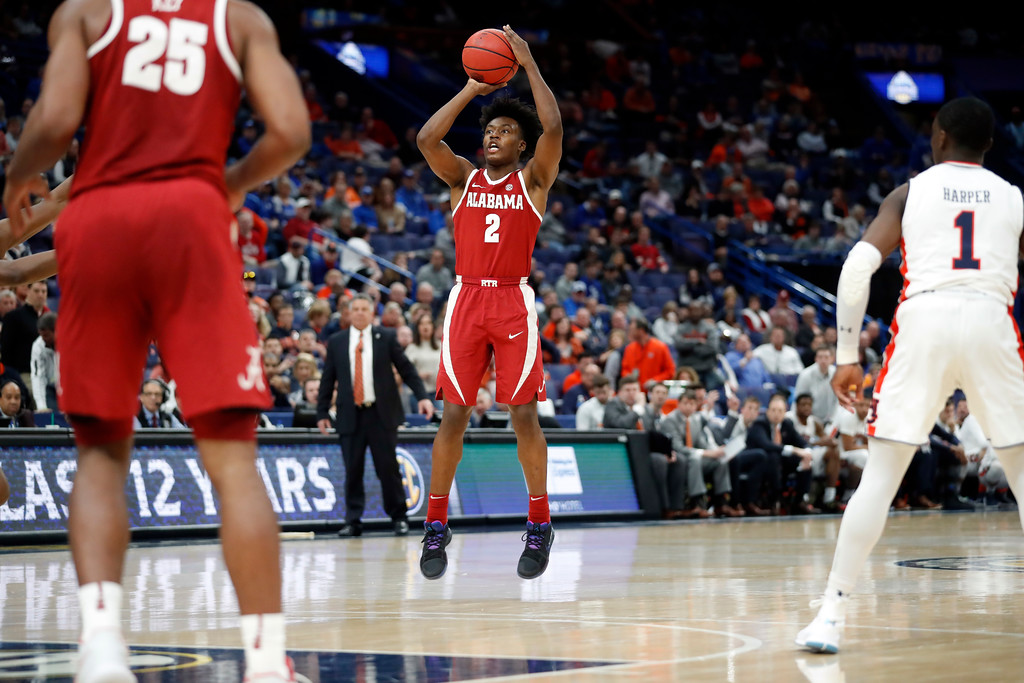 . Alabama\'s Collin Sexton shoots during the second half in an NCAA college basketball quarterfinal game against Auburn at the Southeastern Conference tournament Friday, March 9, 2018, in St. Louis. Alabama won 81-63. (AP Photo/Jeff Roberson)