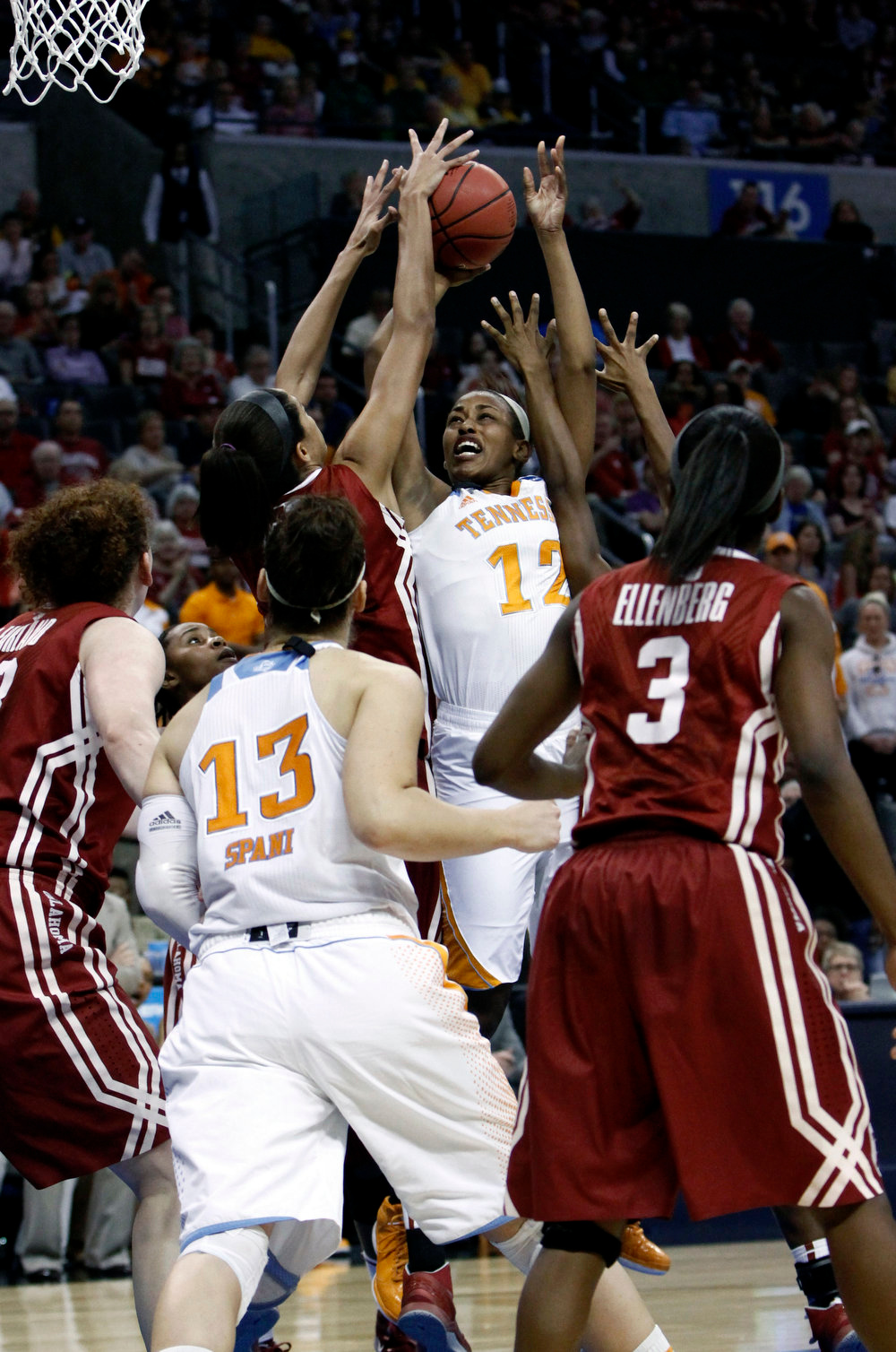 Description of . Tennessee's Bashaara Graves (12) shoots against Oklahoma in the second half of a regional semifinal game in the women's NCAA college basketball tournament in Oklahoma City, Sunday, March 31, 2013.  Tennessee won 74-59.  (AP Photo/Alonzo Adams)