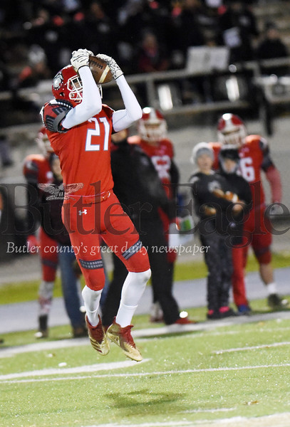 Harold Aughton/Butler Eagle: Redbank Valley's Sam Hetrick, #21, picks off a pass in the first quarter.