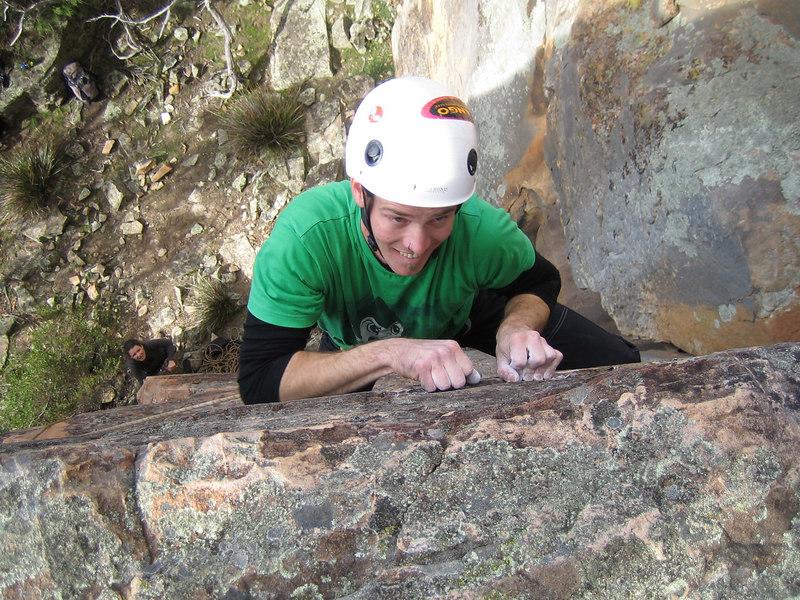 James flashing the thin Itchy Fingers(24), Black Ians Rocks, Grampians