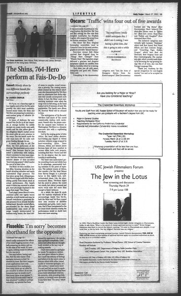 Daily Trojan, Vol. 142, No. 45, March 27, 2001