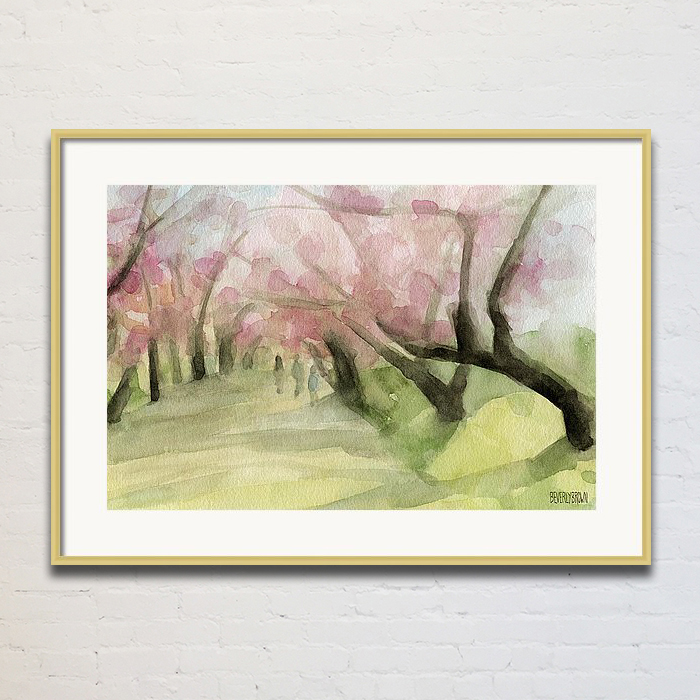 Cherry Blossoms Central Park Painting Framed Print by Beverly Brown