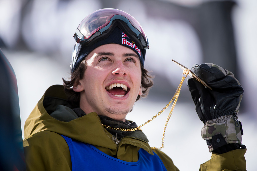 . Mark McMorris of Canada reacts after winning the gold medal during the men\'s snowboard slopestyle at Winter X Games 2016 Aspen at Buttermilk Mountain on January 30, 2016, in Aspen, Colorado. McMorris won the event on his second run with a score of 92.66. (Photo by Daniel Petty/The Denver Post)
