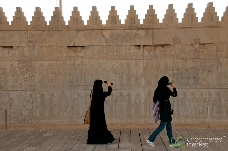 Iranian Women Photographing Apadana Palace  - Persepolis, Iran