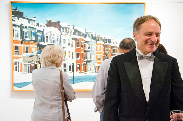 09/06/19 Wesley Bunnell | StaffrrThe Art League of New Britain held an opening show for artist Ned Lomerson on Friday September 6, 2019. Lomerson, R, is shown as visitors view one of his many large paintings on display.