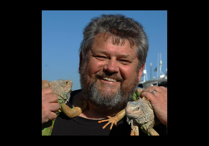 Jim with Iguanas in Baja - 2011.jpg