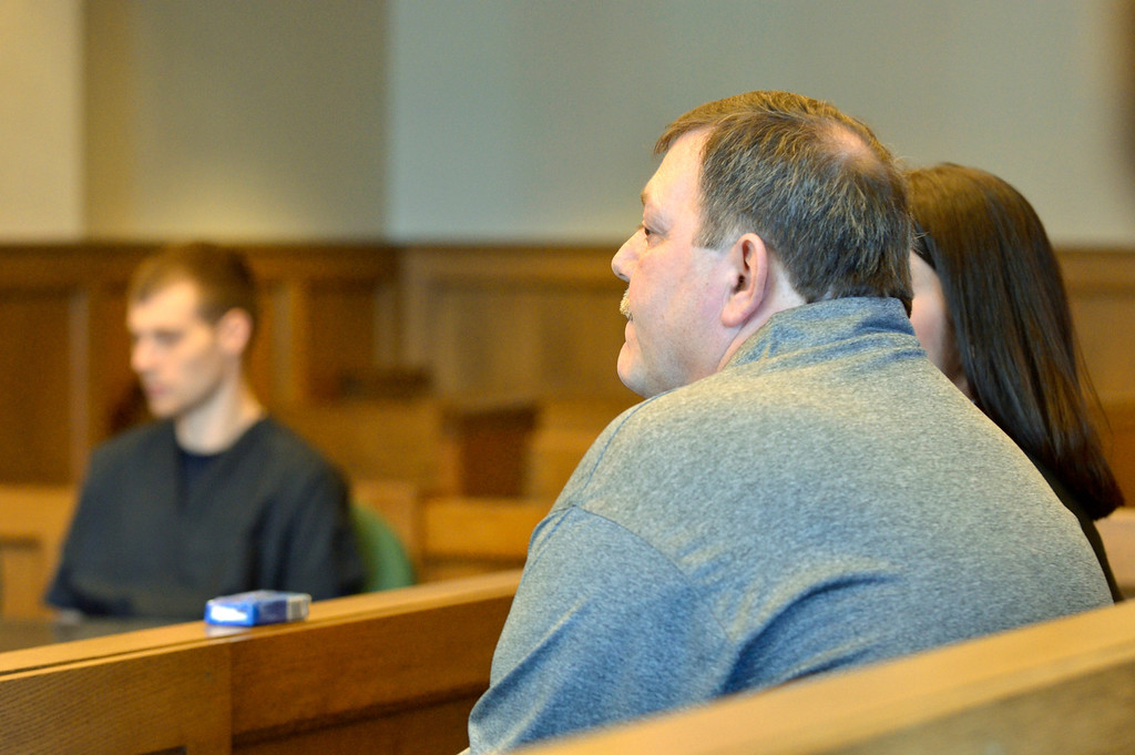 . Jeff Forman/JForman@News-Herald.com Fred Putzbach and Nathaniel Brown wait in Lake County Common Pleas Court March 3 before Brown\'s resentencing for the 2011 murder of William Andrew Fayne Putzbach.